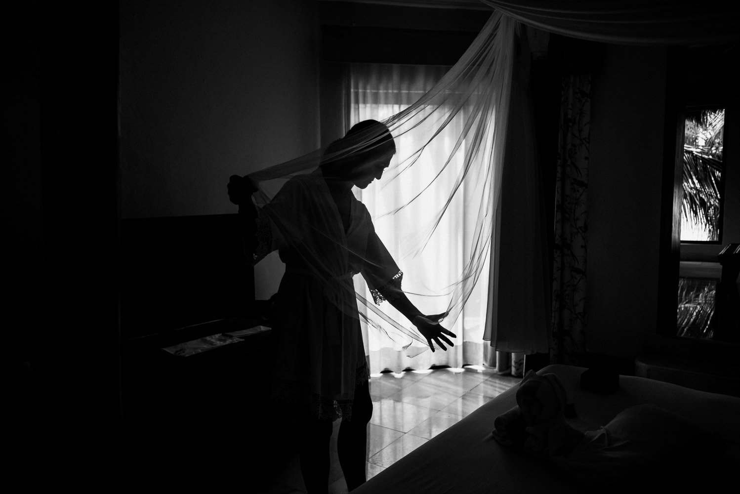 Bride with her gown, black and white silhouette